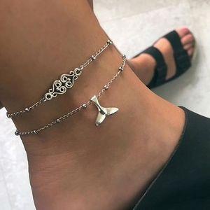 Jewelry - Boho Fish Tail Heart Charm Anklet/Bracelet Set